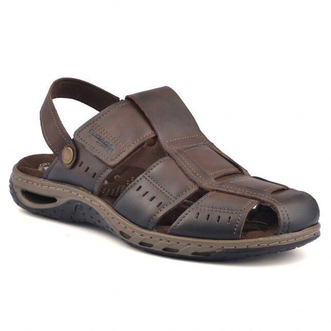 Pegada ādas apavi, brūnas vīriešu zandales