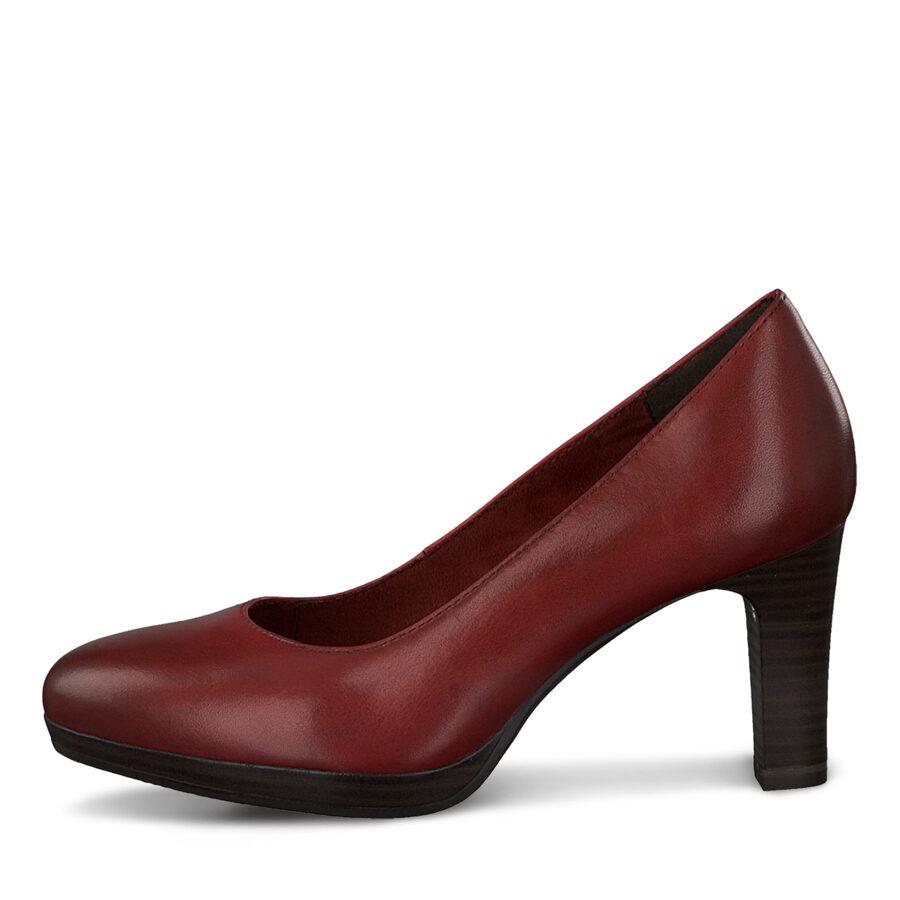Tamaris ādas apavi, sieviešu sarkanas ādas augstpapēžu kurpes