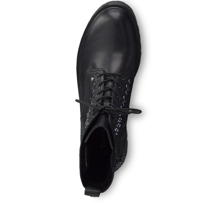 Tamaris apavi, sieviešu melni ādas zābaki