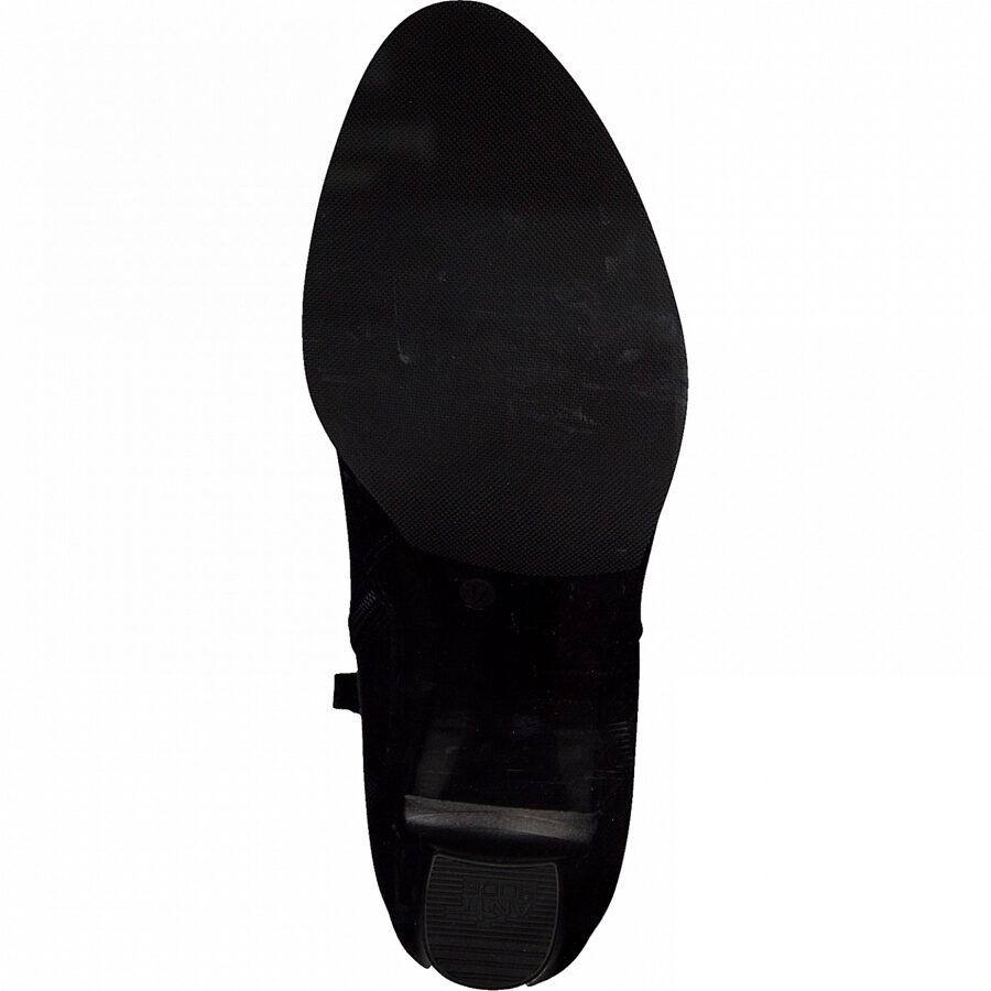 Tamaris ādas apavi, melni augstpapēžu puszābaki