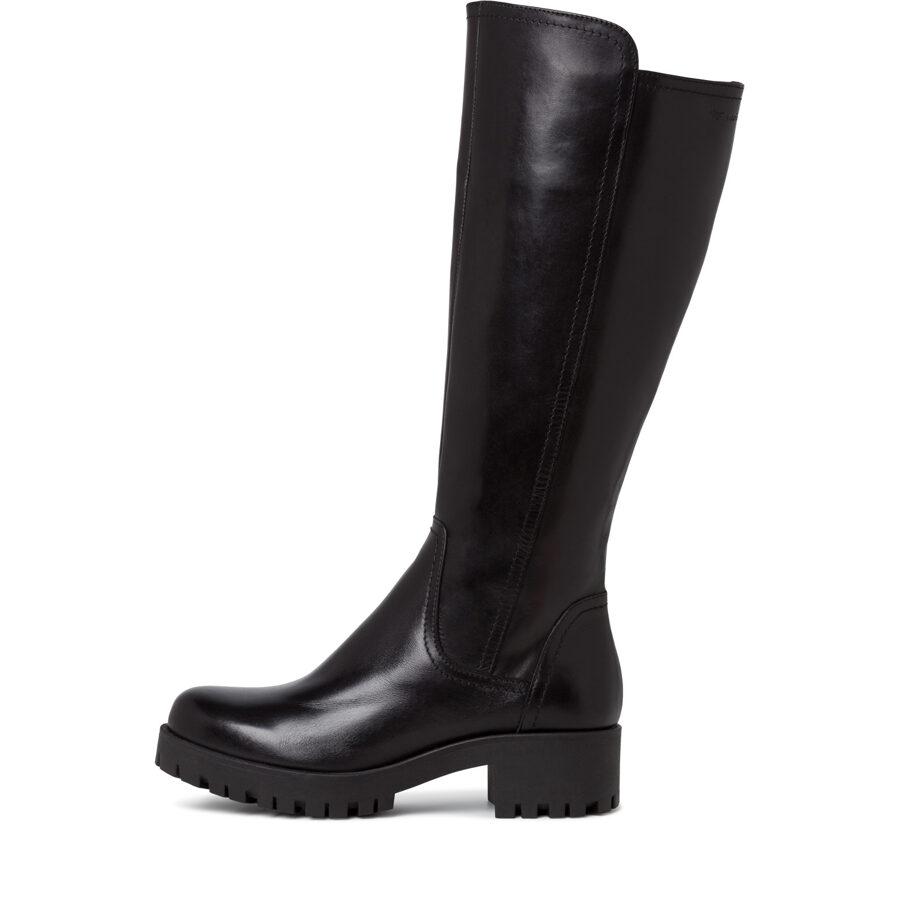 Tamaris apavi, sieviešu melni ādas garie zābaki