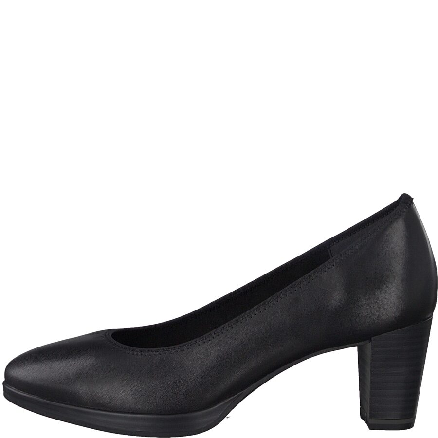 Marco Tozzi apavi, sieviešu melnas ādas augstpapēžu kurpes