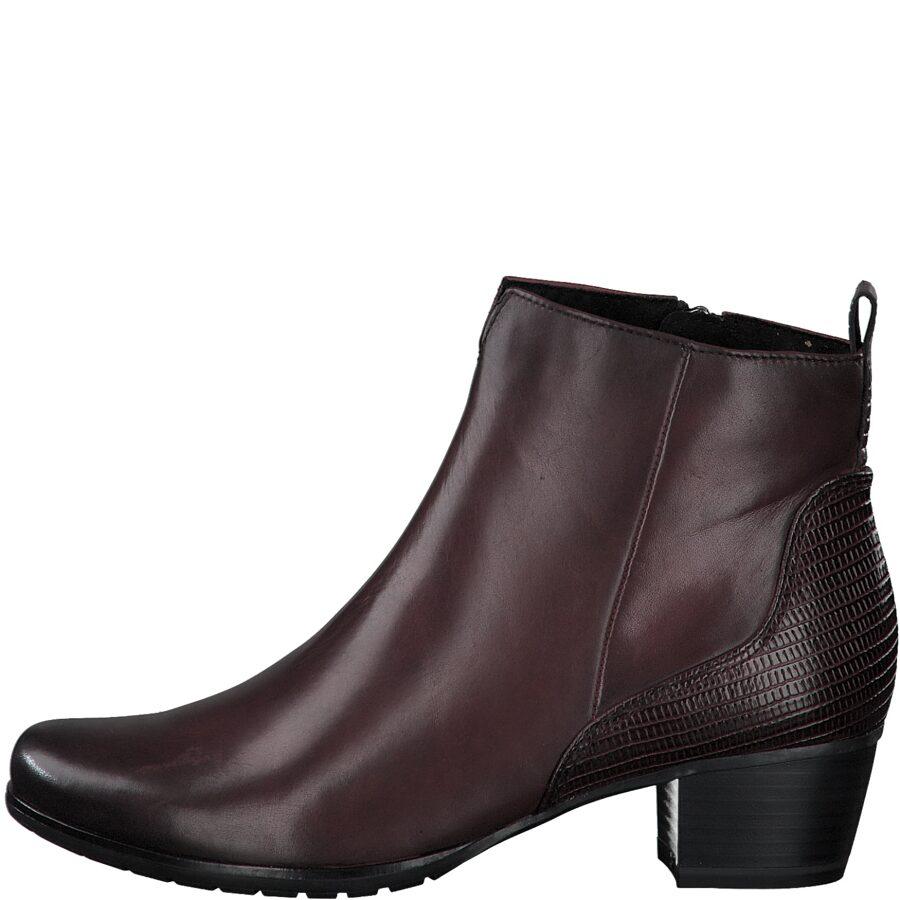 Marco Tozzi apavi, bordo ādas zābaki, sieviešu rudens/pavasara puszābaki