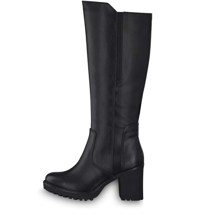Marco Tozzi apavi, sieviešu melni augstpapēžu gari zābaki