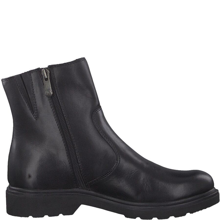 Marco Tozzi apavi, melni ādas zābaki, sieviešu puszābaki