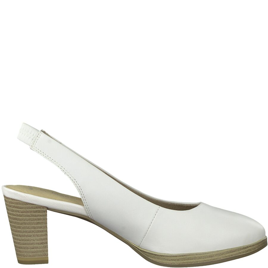 Marco Tozzi apavi,sieviešu baltas ādas augstpapēžu kurpes