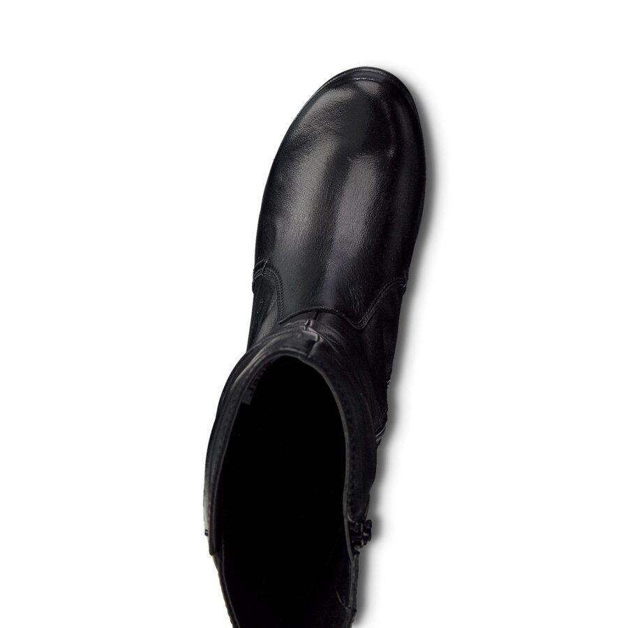 Jana apavi, sieviešu ādas zābaki, melni pusgari zābaki