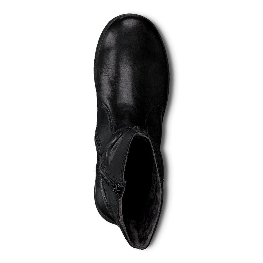 Jana apavi, sieviešu ādas zābaki, melni puszābaki