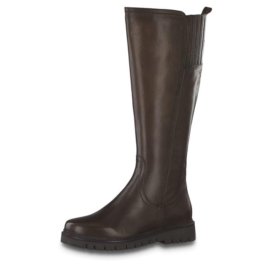 Jana apavi, sieviešu rudens/pavasara apavi, brūni ādas garie zābaki