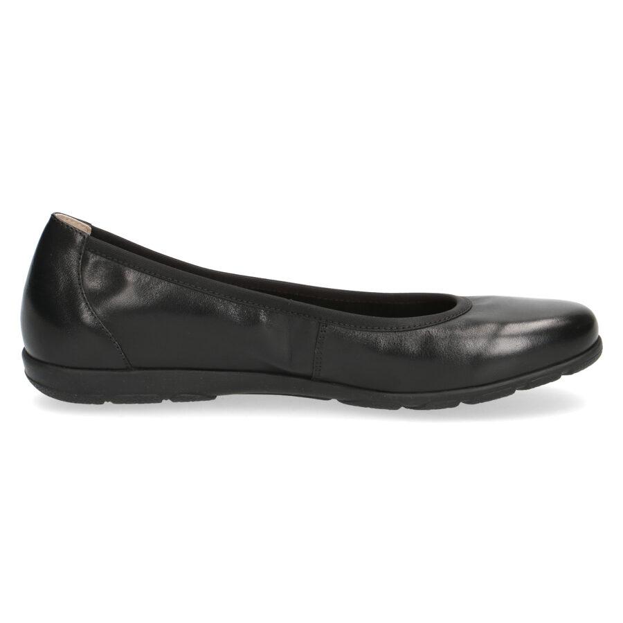Caprice ādas apavi, melnas balerīnas, sieviešu kurpes