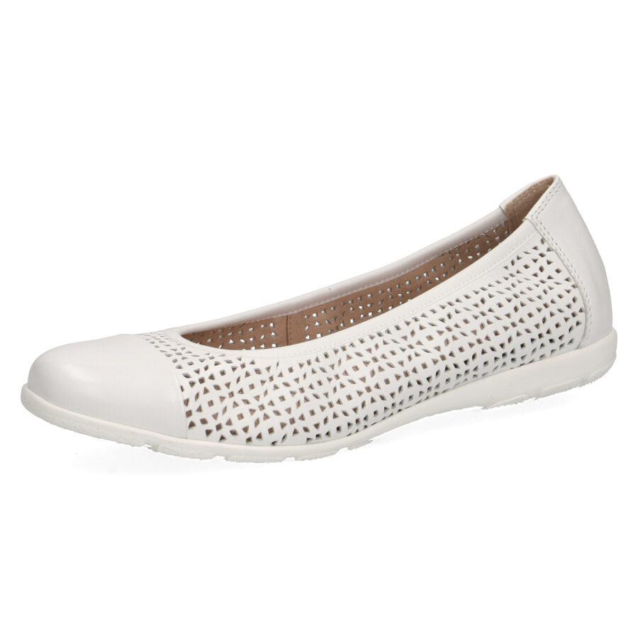 Caprice sieviešu ādas apavi, baltas balerīnas, vasaras kurpes