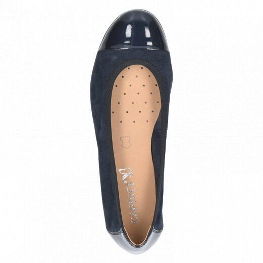 Caprice apavi ādas, sieviešu zilas kurpes, balerīnas