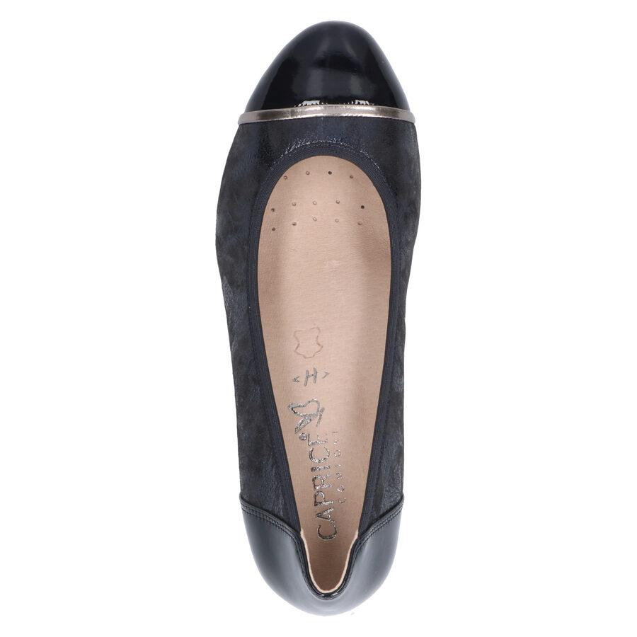 Caprice ādas apavi, tumši zilas sieviešu kurpes, laiviņas