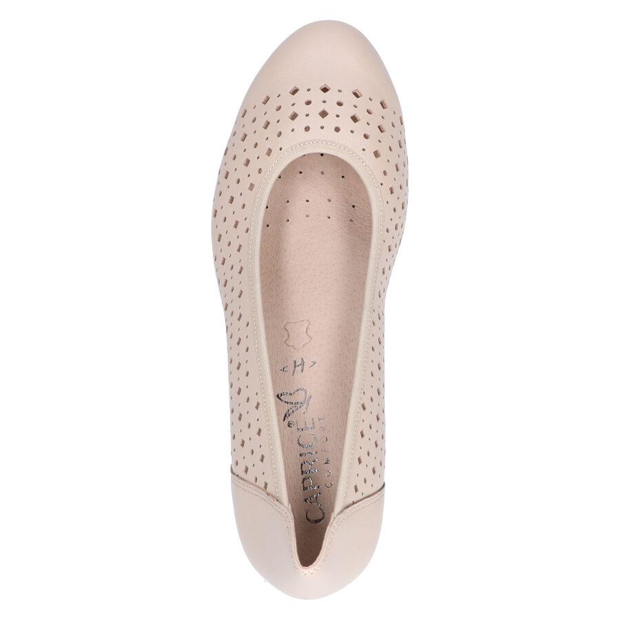 Caprice ādas apavi, bēšas augstpapēžu kurpes, laiviņas