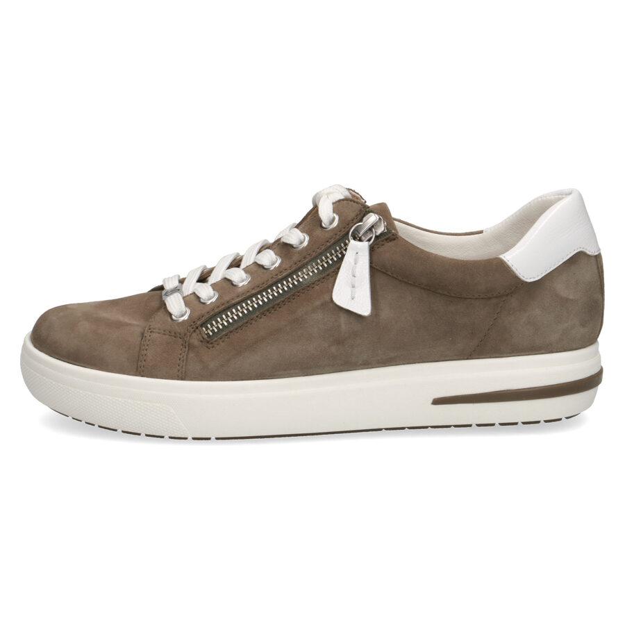 Caprice ādas apavi, haki krāsas sieviešu botes, krosa kurpes