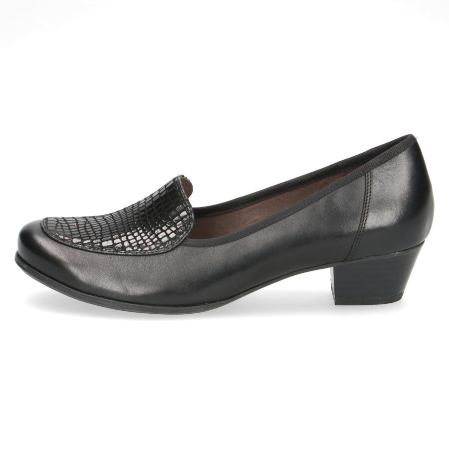 Caprice ādas apavi, melnas slēgtās sieviešu kurpes