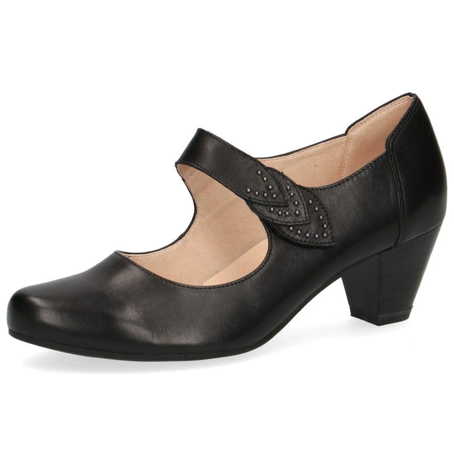 Caprice apavi, sieviešu melnas ādas kurpes