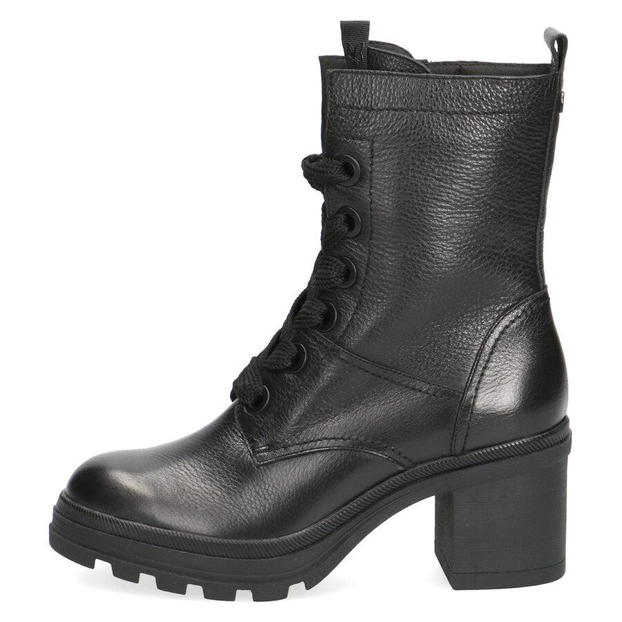 Caprice sieviešu apavi, melni ādas šņorzābaki
