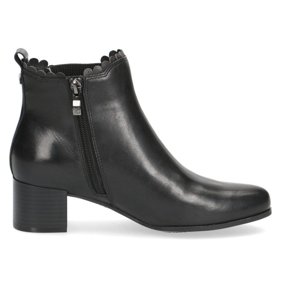 Caprice ādas apavi, melni sieviešu puszābaki