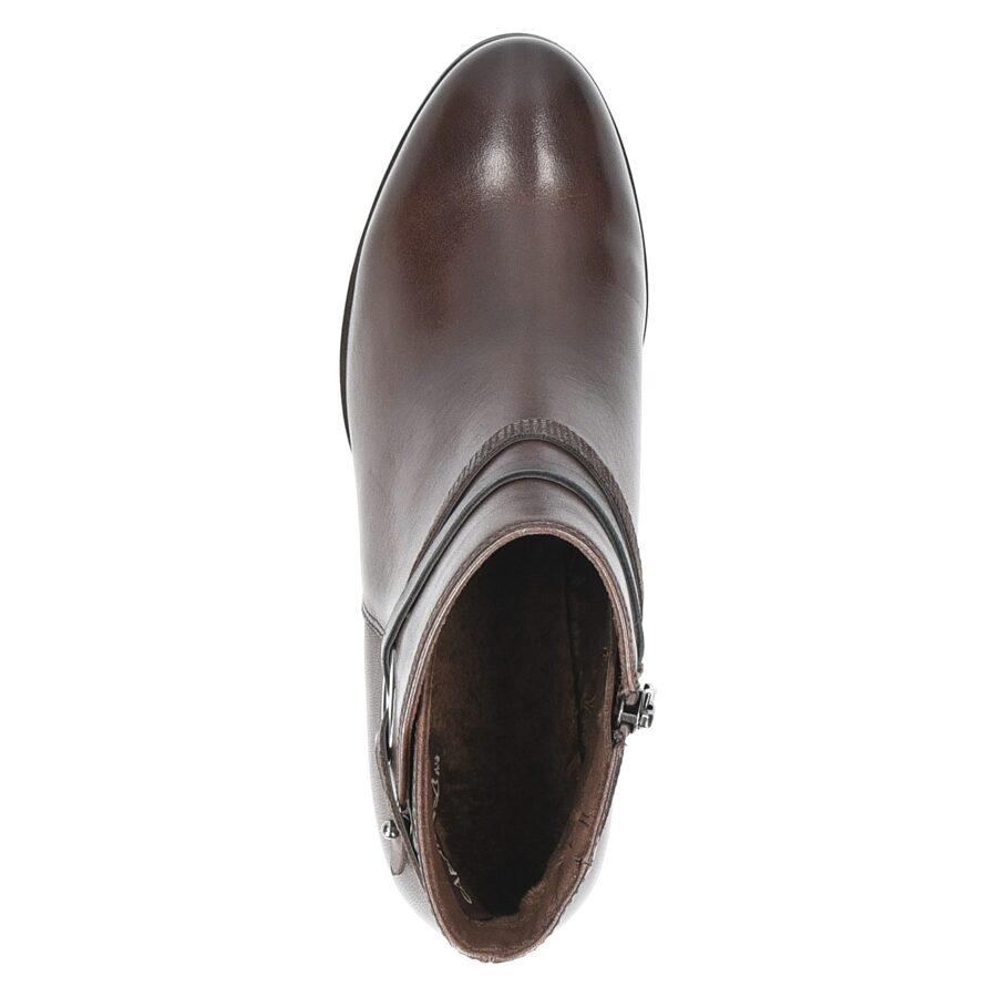 Caprice apavi, sieviešu ādas zābaki, brūni rudens/pavasara puszābaki