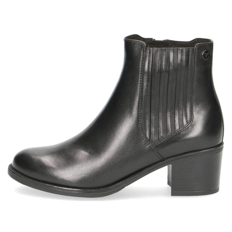 Caprice apavi, sieviešu ādas zābaki, melni rudens/pavasara puszābaki