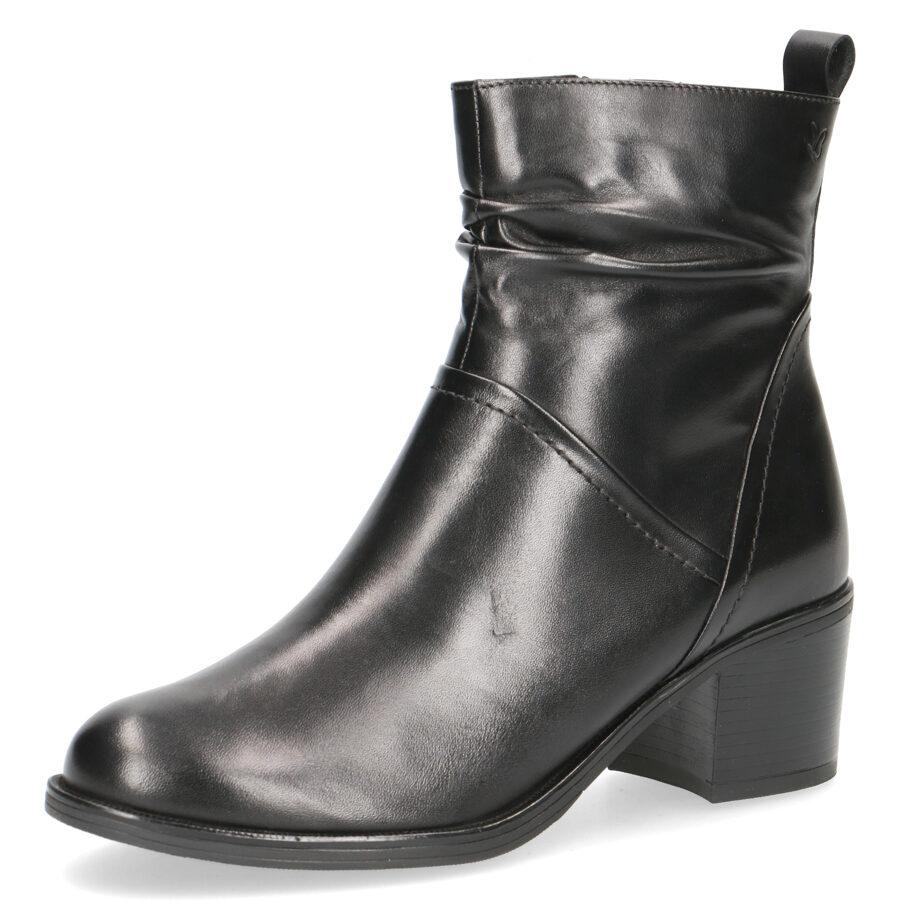 Caprice apavi, melni ādas zābaki, sieviešu rudens/pavasara puszābaki