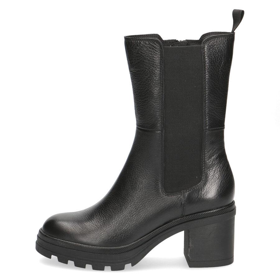 Caprice sieviešu apavi, melni ādas zābaki