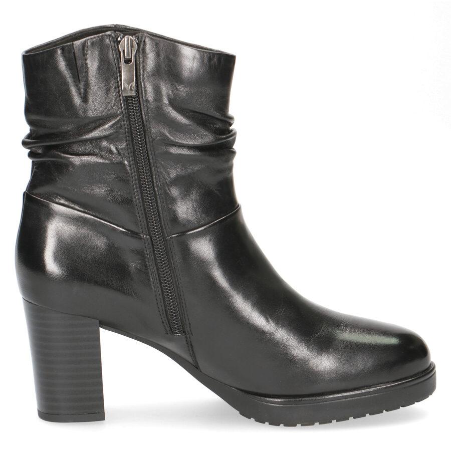 Caprice apavi, melni ādas rudens/pavasara zābaki, puzszābaki uz augstu papēdi