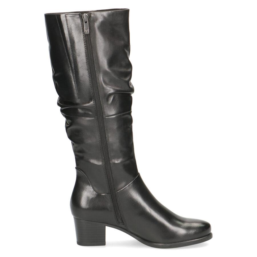 Caprice apavi, sieviešu melni ādas garie zābaki