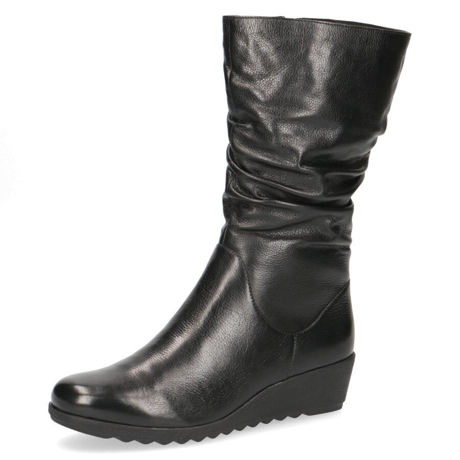 Caprice apavi, melni ziemas ādas zābaki, pusgari uz pilnas zoles