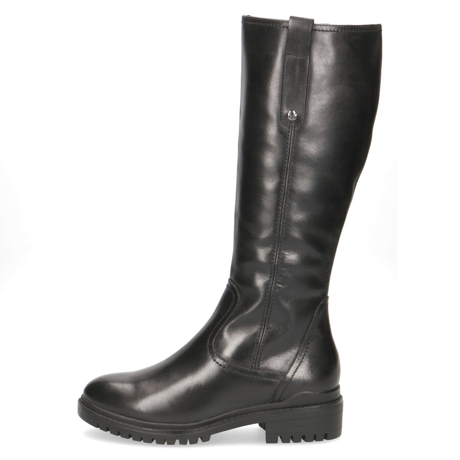 Caprice apavi, sieviešu ziemas melni ādas garie zābaki
