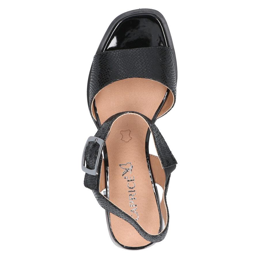 Caprice ādas apavi, melnas sieviešu zandales, vasaras kurpes