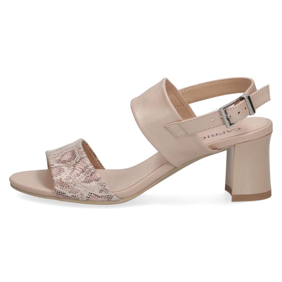 Caprice ādas apavi, bēšas, augstpapēžu sieviešu vasaras kurpes