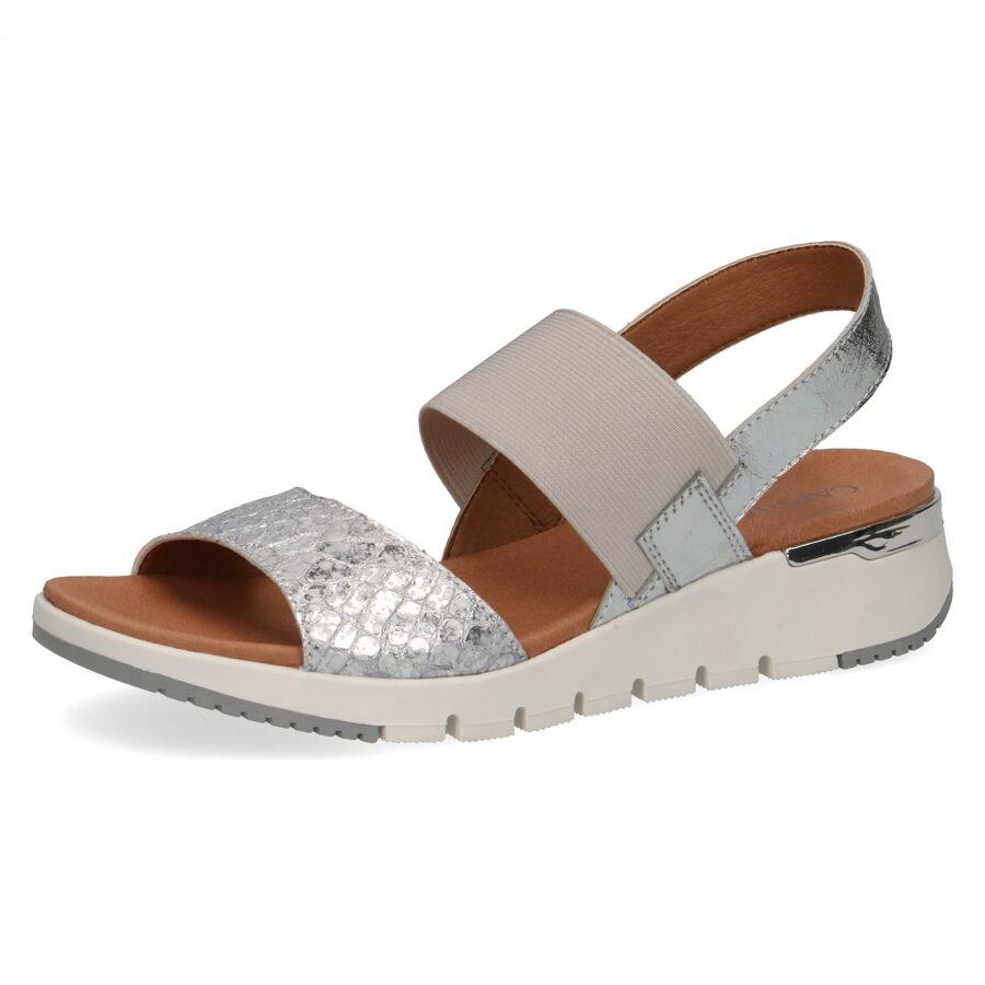 Caprice ādas apavi, sudrabkrāsas, gaišas zandales, vasaras kurpes