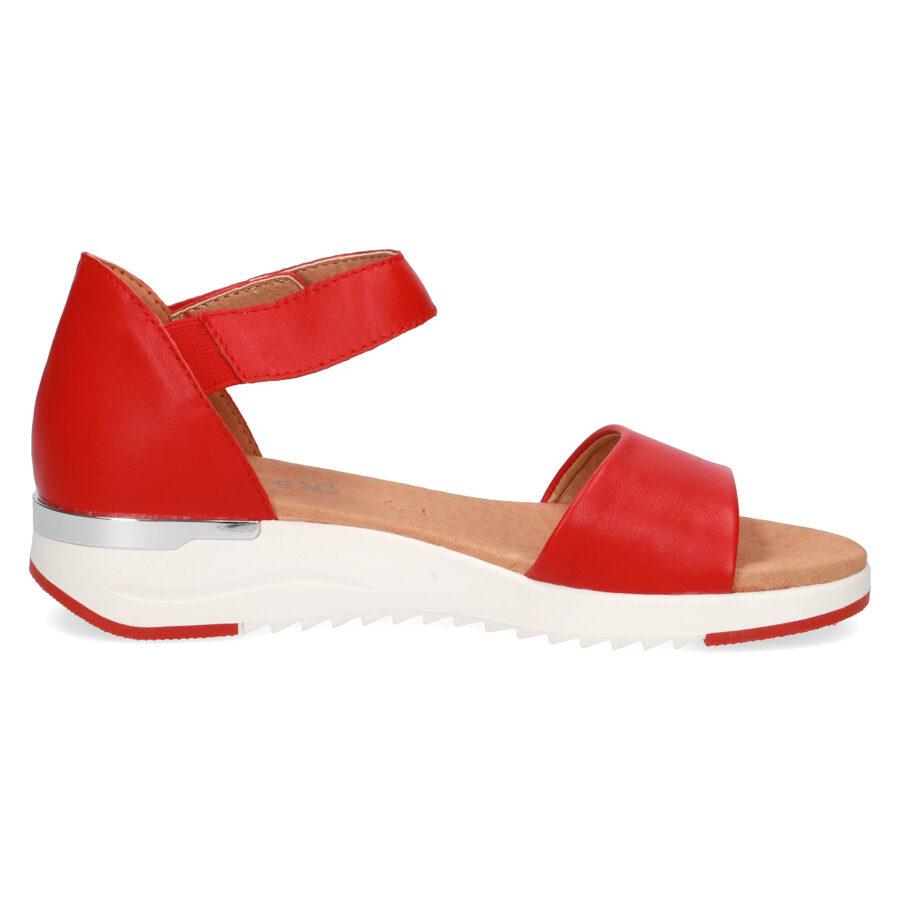 Caprice ādas apavi, sarkanas zandales, vasaras kurpes