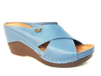 Loretta Vitale ādas apavi, zilas sieviešu iešļūcenes