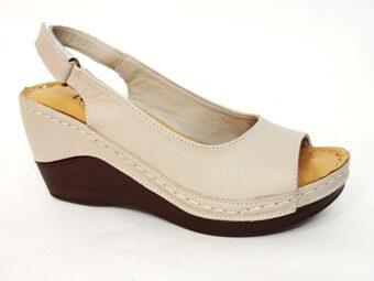 Loretta Vitale ādas apavi, tumši bēšas sieviešu vasaras kurpes