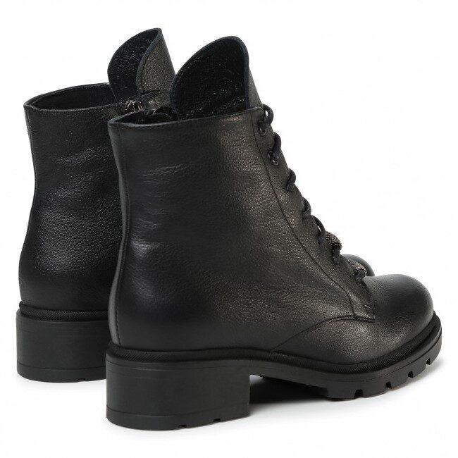 Ādas apavi, sieviešu rudens/pavasara zābaki, melni puszābaki