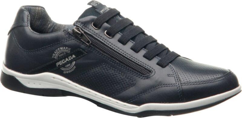 Pegada ādas apavi, zili brīvā laika vīriešu apavi