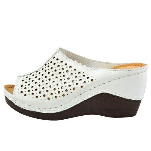 Loretta Vitale ādas apavi, baltas sieviešu iešļūcenes