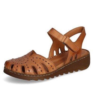 Loretta Vitale ādas apavi, brūnas sieviešu zandales, vasaras kurpes