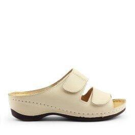 Loretta Vitale ādas apavi, bēšas sieviešu iešļūcenes