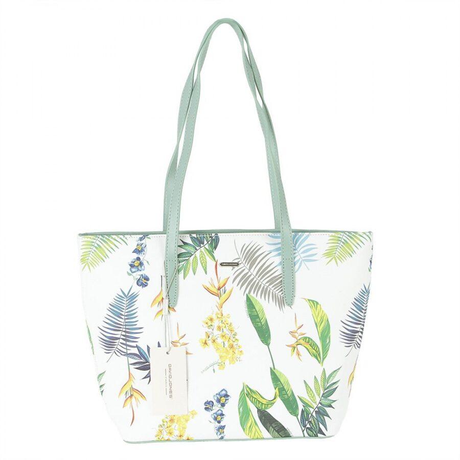 David Jones gaiši zaļa, balta/krāsaina sieviešu soma