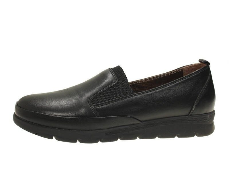 Loretta Vitale ādas apavi, melnas, zemas sieviešu kurpes