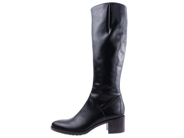 Ādas apavi, sieviešu gari, melni zābaki