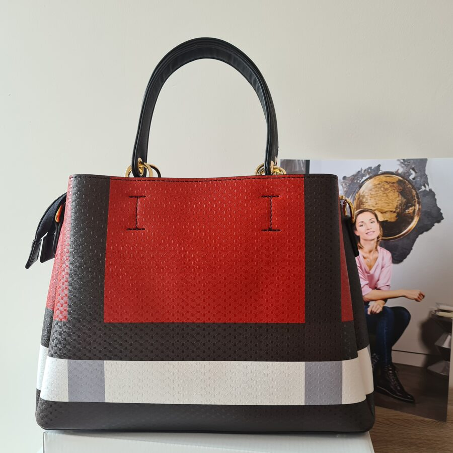 Gallantry sarkana, krāsaina, rūtaina sieviešu soma