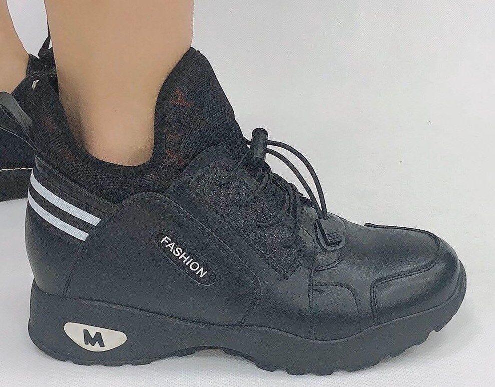 Sneakers, melni ar baltu sieviešu brīvā laika apavi