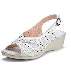 Loretta Vitale ādas apavi, baltas sieviešu vasaras kurpes