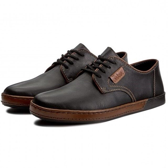 Rieker dabīgās ādas apavi, melnas vīriešu kurpes ar auklu