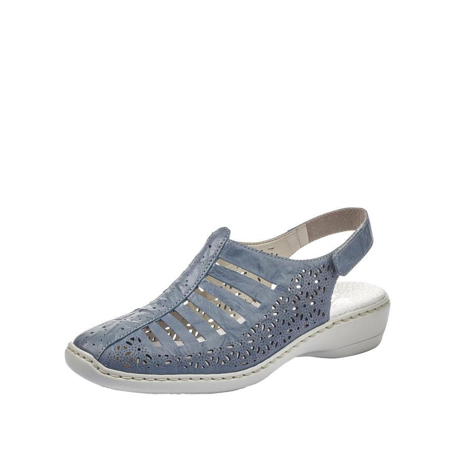 Rieker ādas apavi, gaiši zilas sieviešu vasaras kurpes